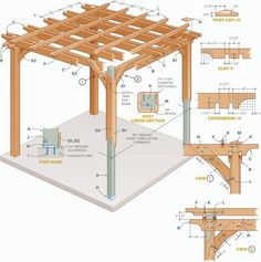 Step-by step plans to make an arbor-like cedar structure, with 3D animation and master-level blueprints.