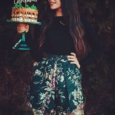 """Sweet Xmas  by @ohmydeerblog   Ft. """"The Twigs"""" mini skirt in black floral  #floral #miniskirt #paneled #black #fashion #style #cake"""
