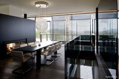 This stylish dining space is on the second floor of a home in Valencia.