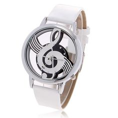 Fashionable Bolun Dots Hour Marks Leather Quartz Wrist Watch with Music Symbol Patterned for Female B636 (White)