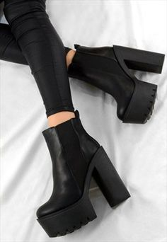 ORLA High Chunky Heel Chelsea Cleated Ankle Biker Boots