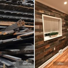 Every time we need a bit of weekday inspiration, we look at how wood originally destined for a landfill finds a new home as beautiful wall paneling. This natural wood wall is just beautiful and will give new life to this wood for years to come!  ekendwalls #reclaimedwood #peelandstick #diy #woodwalls #farmhousestyle
