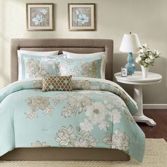 Twin Bedding Sets For Adults Single Beds Comforter Sheet Set Blue Floral New  #Unbranded #Contemporary