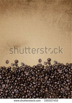 coffee beans on paper texture, vintage background