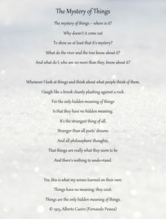The Mystery of Things Poem from Alberto Caeiro (Fernando Pessoa)