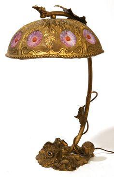 Антикварная австрийская бронзовая лампа в стиле модерн