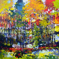 Steve Penley showing what he sees when looking at nature and trees and all the bright colors he uses to express his emotions and feelings about it.