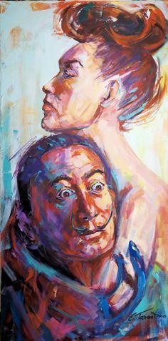 Dali mit Gala - Acryl auf Leinwand 50 x 120 cm
