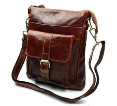 Vintage Casual 100% Real Genuine Leather Cowhide Men Small Messenger Bag Shoulder Cross Body Ipad Mini Bag