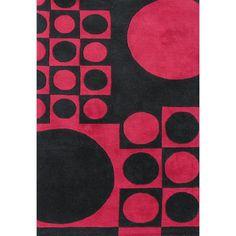 Alliyah Rugs New Zealand Hand-Tufted Wool Black/Dark Pink Area Rug