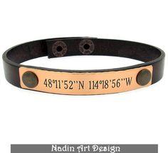 Personalized Latitude Longitude Bracelet / Gift from NadinArtDesign by DaWanda.com