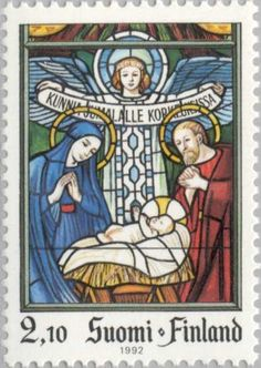 Stamp: Birth of Christ, stained glass in Karkkila Church (Finland) (Christmas)…