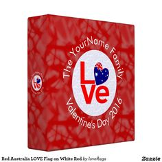 Red Australia LOVE Flag on White Red 3 Ring Binders