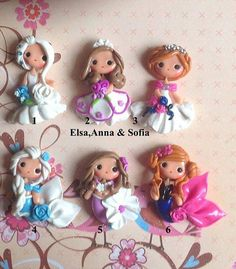 Ana , Elsa Frozen and  Sofia the First Polymer Clay Charm Bead Scrapbooking Embelishment Bow Center Pendant Cupcake Topper - Pick 1