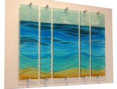Sand, Sea and Sky - 5 Part Fused Glass Panel on Board by Nicky Exell - 88cm x 61cm