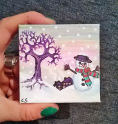 This is a unique, original mixed-media piece of a pretty Christmas, snowy scene, on a teeny, tiny canvas! These look so cute on the wall! Canvas on a wooden frame, can be hung on a nail, or just sat on a shelf. Perfect as a stocking filler!  Initialed on front, signed and dated on back.  Note: Listing is for ONE canvas (the one in main picture). Please see other listings for other items pictured (if not already sold). Coin is for scale purposes only.  Miniature Size: 70 x 70 mm 7 x 7 cm 2…