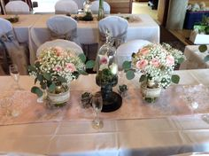 The Bridesmaid Bouquets. Pink roses, Silver Dollar Eucalyptus and Baby's Breath.