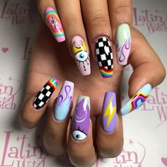 Edgy Nails, Grunge Nails, Stylish Nails, Funky Nails, Swag Nails, Bling Nails, Edgy Nail Art, Crazy Nails, Summer Acrylic Nails