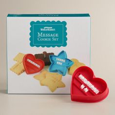 One of my favorite discoveries at WorldMarket.com: Message Cookie Cutter Set $10!!!!!!!!!!!!!