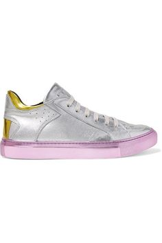 Sole measures approximately 30mm/ 1 inch Silver, baby-pink and yellow leather Lace-up front Made in Italy