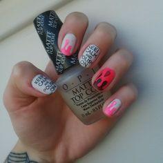DIY stamping nailart, pollishaddict, keep calm and polish on :) pink, black, white, matte O.P.I. Top coat