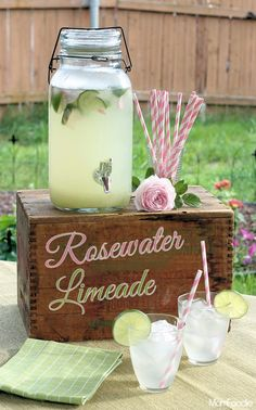 Rosewater Limeade Recipe ~ easy but elegant summer beverage, perfect for summer parties