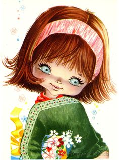 Vintage 70s Postcard of a beautiful Big Eyed Girl in Green by Gallarda