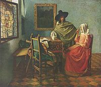 Johannes Vermeer A Lady Drinking and a Gentleman, , Staatliche Museen, Berlin. Read more about the symbolism and interpretation of A Lady Drinking and a Gentleman by Johannes Vermeer. Johannes Vermeer, Delft, Classic Paintings, Beautiful Paintings, Pieter De Hooch, Vermeer Paintings, Dutch Golden Age, Baroque Art, Dutch Painters
