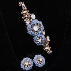 Miriam-Haskell-2pc-Blue-Moonstone-Brooch-Pin-Clip-earrings-Lot-292