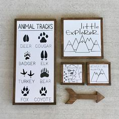 Animal Tracks Sign Woodland Nursery Sign Mountain Nursery