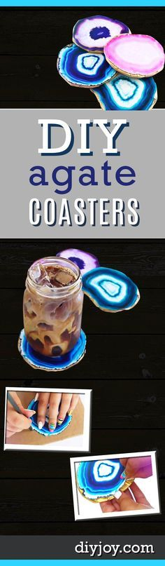Cheap DIY Gifts for Women | Easy Crafts for Teens to Make | Faux Agate DIY Coasters | DIY Projects & Crafts by DIY JOY http://diyjoy.com/diy-gifts-decor-faux-agate-coasters