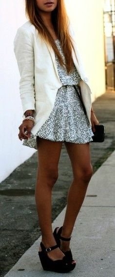 White Blazer + Printed Dress
