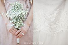 baby's breath bouquets. lace wedding gown.