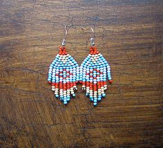 Seed Bead Earrings Native Beading Traditional Pattern by WMJBeads, $21.00