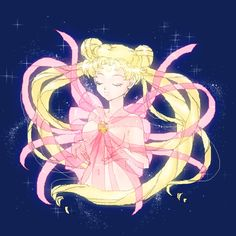 """simplysailormoon: """" girlsbydaylight: """" by ハコ """" My one of my favorite types of fan art is her with these ribbons"""