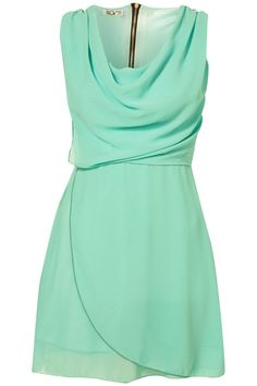 Seafoam blue as I picture it from that incubus song! Love the way the neck line goes with this dress.