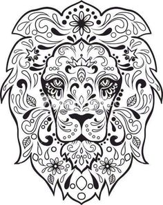 sugar skull lion saved to computer find this pin and more on adult coloring pages