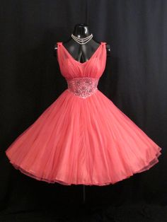 Vintage 1950's 50s Fuschia Hot Pink Beaded Ruched by VintageVortex, $349.99