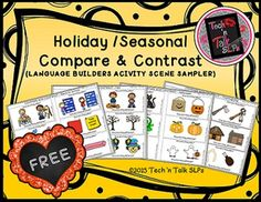 Compare and Contrast for School, Fall, Halloween & Thanksgiving themes. FREE