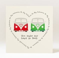 Personalised Love Campervan Greeting Card for Valentine's Day - 145mm Square Card on Etsy, $4.95