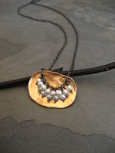Vermeil plaque necklace with fresh water pearls and black oxidized sterling silver chain
