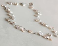 Keishi Pearl Necklace Organic Pearls Flat by SbCollectionsJewelry, $72.00