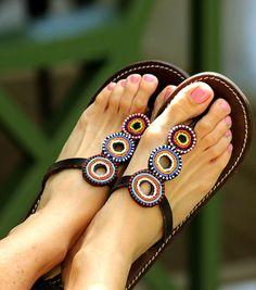 aspiga.com   Mahati Multi Leather Beaded Heel Sandals