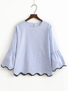 Bleu Contraste Binding Bell Cuff Wave Trim Blouse-French SheIn(Sheinside)