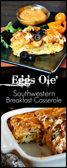 Recipe from famous Arizona Bed and Breakfast. Eggs Ole' is a wonderful Mexican, Southwestern breakfast casserole that will have your brunch bunch asking for 2nd's. Full of Mexican flavors, this breakfast casserole is easy and rewarding.