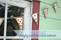 Playing Card Pennant Banner easy DIY made from up-cycled paper bags and playing cards