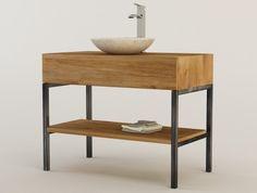 Meuble design présenté avec une vasque en pierre facile d'entretien
