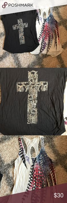Express Cross and sparkle abstract cross back tank Selling both of these together. Both smalls. Cross tshirt and abstract sequined cross back tank. Both NWOT. Never worn. Express Tops