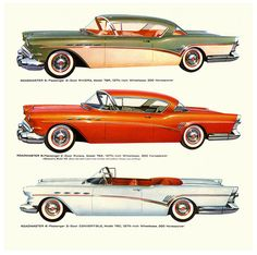 1957 Buick Roadmasters: Two-Door Riviera, Two-Door Riviera, and Convertible Rolls Royce, Bugatti, Cadillac, Cool Car Drawings, Buy Classic Cars, Buick Cars, Buick Roadmaster, Ad Car, Car Illustration