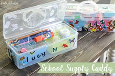 Assemble your own school supply organizer caddie with this fun and simple idea. Supplies will be corralled and the kids will love having their own caddy!